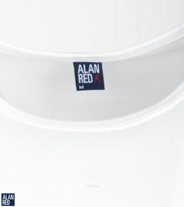 Alan Red Derby Extra Lange T-shirts Wit (2Pack)