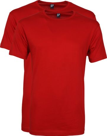 Alan Red Derby R-Neck T-Shirt Stone Red (2Pack)