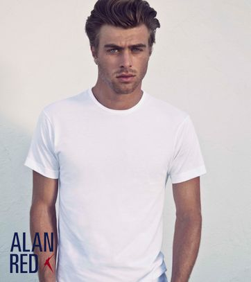 Alan Red Derby Round Neck T-shirt White 2-Pack