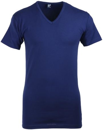 Alan Red Oklahoma Stretch T-Shirt V-Hals Marineblau