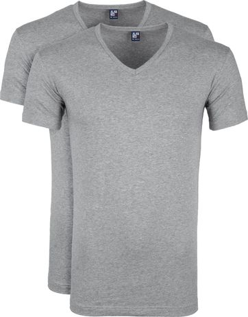 Alan Red Oklahoma T-shirt Stretch Grey 2-Pack