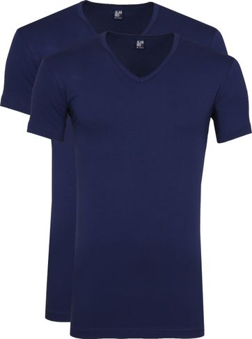 Alan Red Oklahoma V-Hals T-Shirt Blauw Stretch (2Pack)