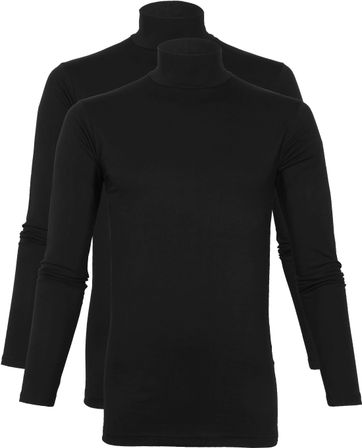 Alan Red Oster Col Longsleeve Shirt Zwart 2-Pack