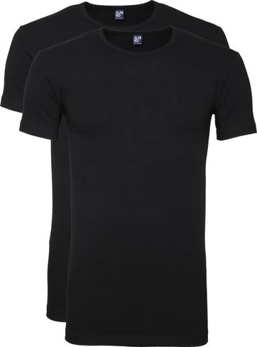 Alan Red Ottawa T-shirt Stretch Black 2-Pack