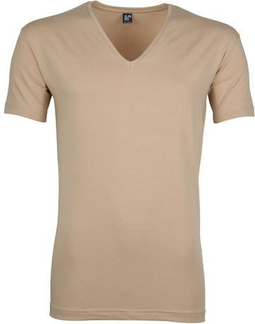 Alan Red Stretch V-Neck T-Shirt Beige 2er-Pack