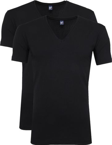 Alan Red Stretch V-Neck T-Shirt Schwarz 2er-Pack