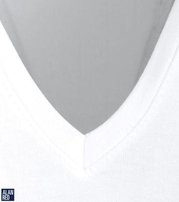 Alan Red T-shirt Deep V-Neck White 2-Pack