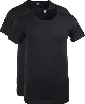 Alan Red T-shirt Wide Round Neck Black