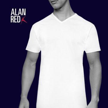 Alan Red Vermont T-Shirt V-Neck White (2Pack)