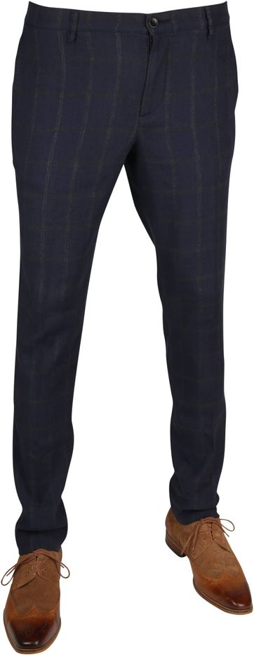 Alberto Rob Linen Chino Checks Navy