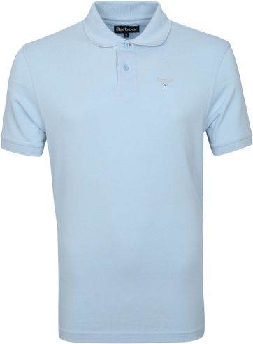 Barbour Basic Pique Polo Shirt Light Blue