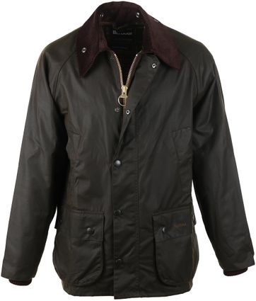 Detail Barbour Bedale Wax Jas Olijfgroen