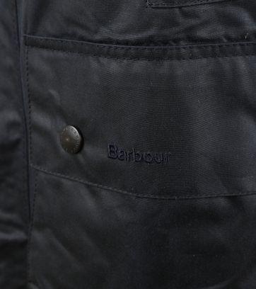 Detail Barbour Border Wax Jas Blauw