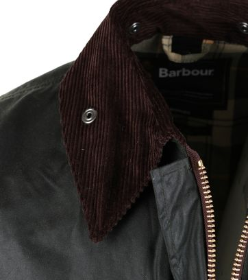 Detail Barbour Border Wax Jas Groen