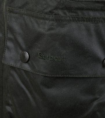 Detail Barbour Border Wax Jas Groen