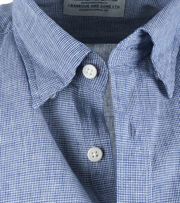 Detail Barbour Drift Shirt Blauw Ruit