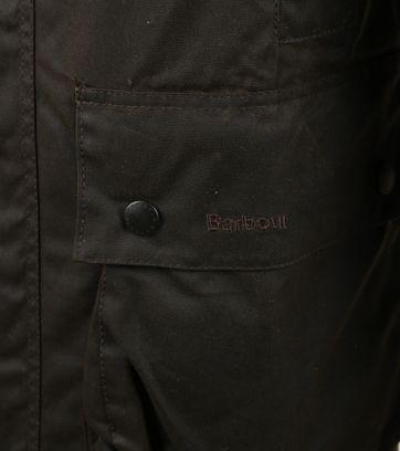 Detail Barbour Northumbria Wax Jas Groen