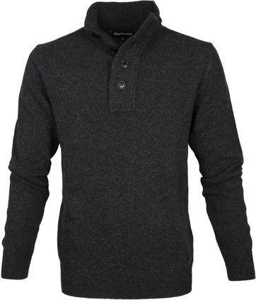Barbour Sweater Wool Patch Dark Grey