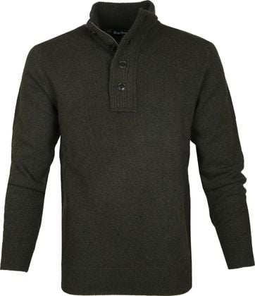 Barbour Sweater Wool Patch Green