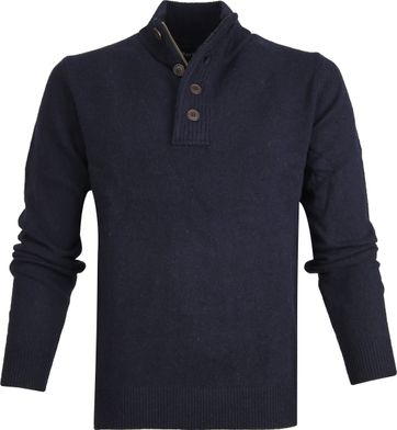 Barbour Sweater Wool Patch Navy