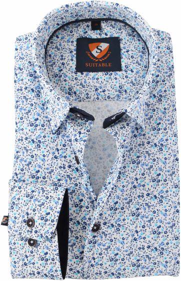 Blauw Bloemetjes Overhemd 154-6