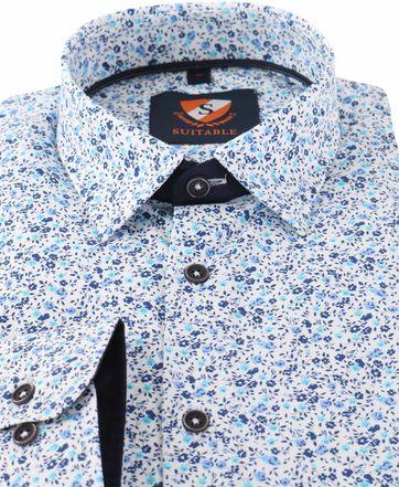 Detail Blauw Bloemetjes Overhemd 154-6