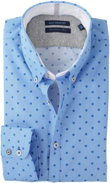 Blue Industry Blau Motiv Hemd