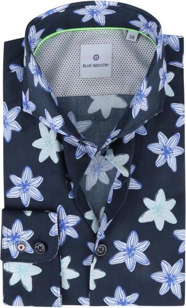 Blue Industry Hemd Blume Dunkelblau