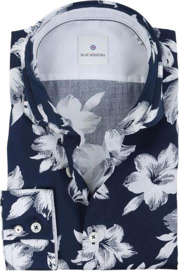 Blue Industry Hemd Blumen Dunkelblau