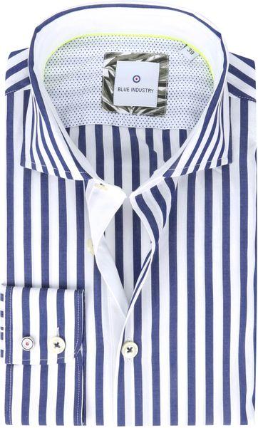 Blue Industry Hemd Streifen Blau Weiß