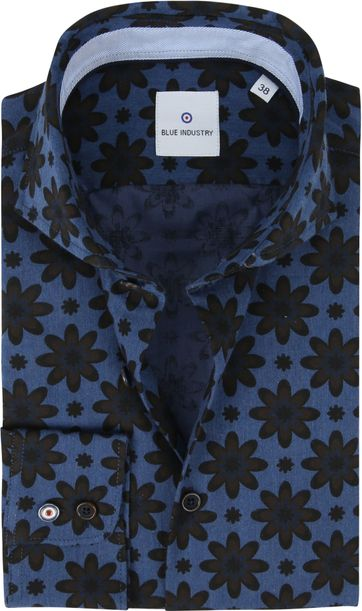 Blue Industry Overhemd Bloemen Blauw