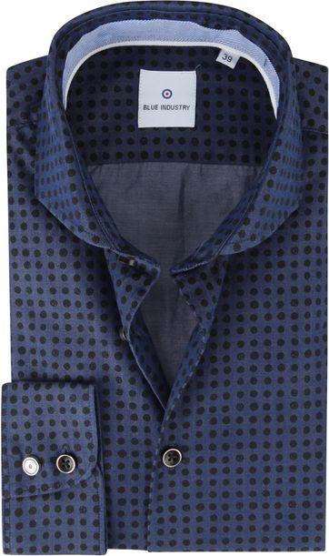 Blue Industry Overhemd Bollen Donkerblauw