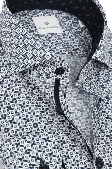 Blue Industry Overhemd Dessin Wit