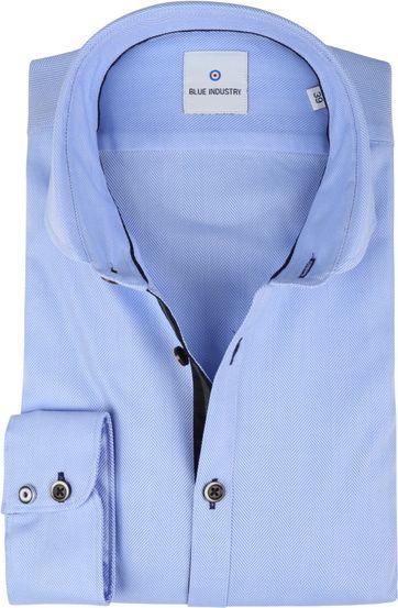 Blue Industry Overhemd Herringbone Blauw