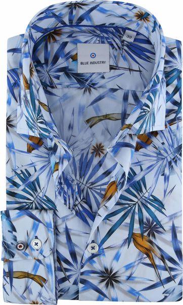 Blue Industry Overhemd Tropisch Blauw