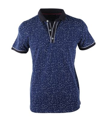 Blue Industry Polo Blauw Print