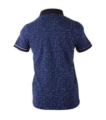 Detail Blue Industry Polo Blauw Print
