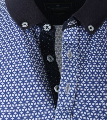 Detail Blue Industry Polo Blauwe Print