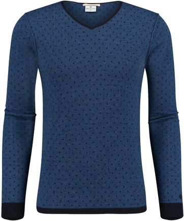 Blue Industry Pullover Blau Punktmuster