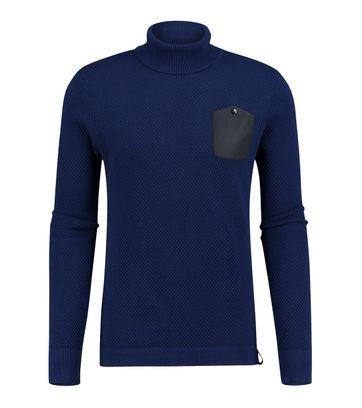 Blue Industry Pullover Rollkragen Blau