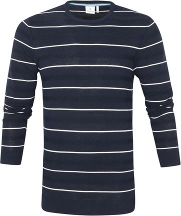 Blue Industry Pullover Stripe Donkerblauw