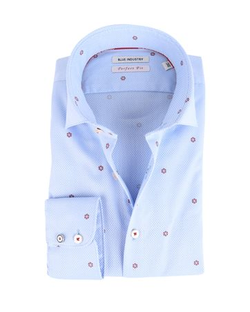 Blue Industry Shirt Blauw met Rode Print