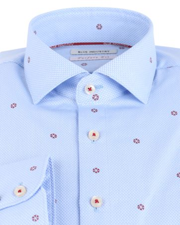 Detail Blue Industry Shirt Blauw met Rode Print