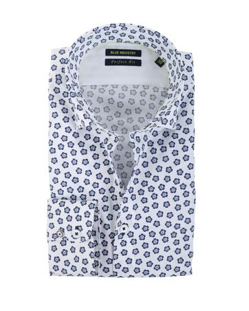 Blue Industry Shirt Bloemenprint Wit