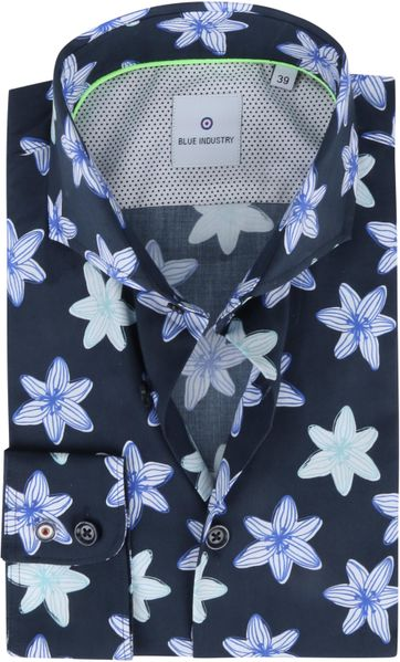 Blue Industry Shirt Flowers Dark Blue