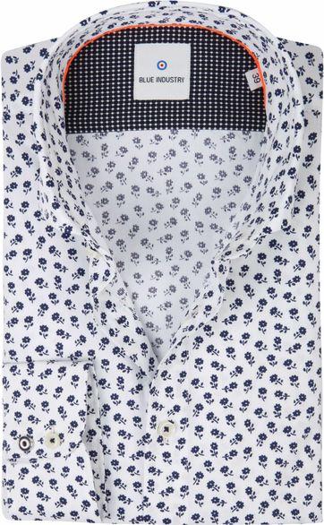 Blue Industry Shirt Flowers White