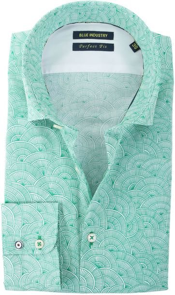 Blue Industry Shirt Green Prints