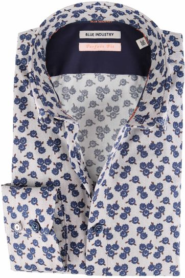 Blue Industry Shirt Grey with Navy Flowers