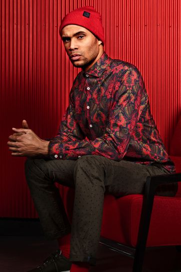 Blue Industry Shirt Paisley Red