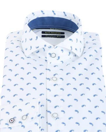Detail Blue Industry Shirt Print Wit